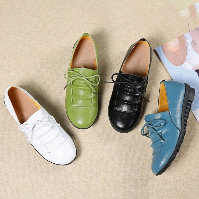 Casual Round Toe Lace-up Flat Heel Loafers_9