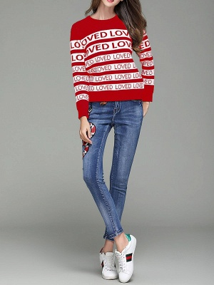 Casual Long Sleeve Letter Sweater_5