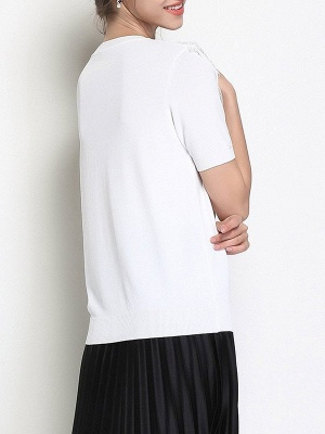Ice Yarn Casual Shift Knitted Short Sleeve Sweater_4