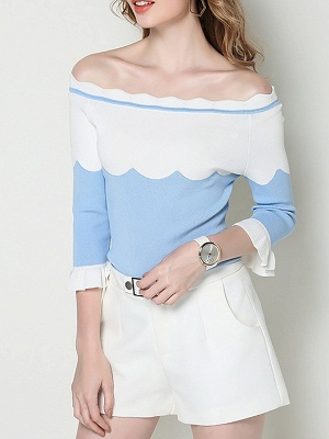 Blue Casual Sheath Frill Sleeve Sweater_1