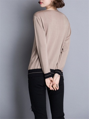 Casual Intarsia Shift Ice Yarn Knitted Simple Sweater_8