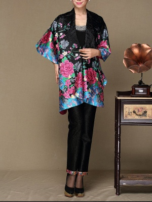 Black Long Sleeve Floral Casual Floral-print Crinkled Coat_4
