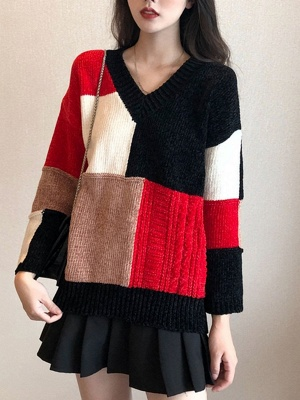Multicolor Casual Solid Long Sleeve V neck Color-block Sweater_7