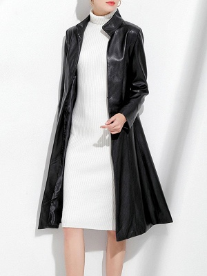 Black Long Sleeve Buttoned Casual Leather Solid Coat_4