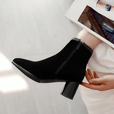Daily Chunky Heel Zipper Pointed Toe Boots_6