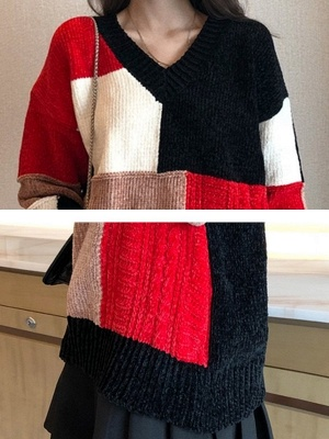 Multicolor Casual Solid Long Sleeve V neck Color-block Sweater_5