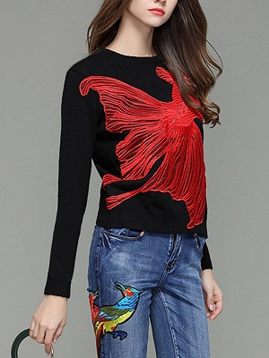 Black-Red Beaded Casual Sweater_6
