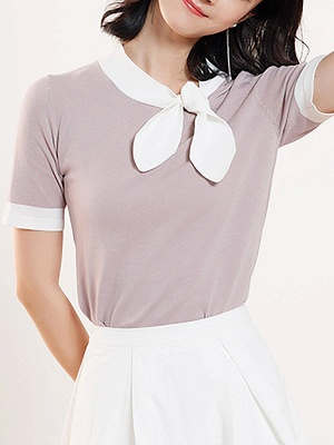 Crew Neck Casual Knitted Short Sleeve Summer Sweater_5