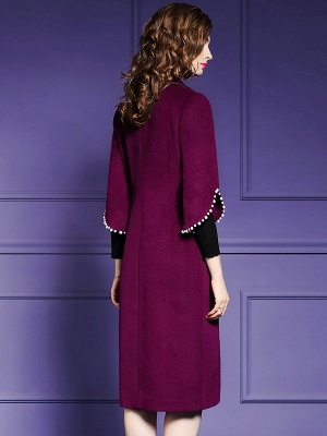 Purple Beaded Work Lapel 3/4 Sleeve Buttoned Coat_3