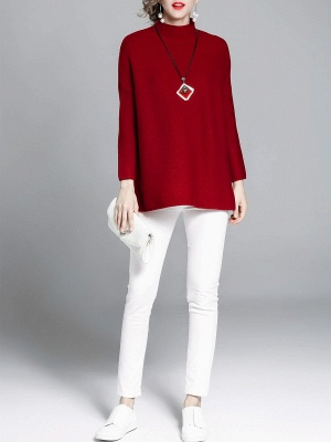 Burgundy Casual Stand Collar Solid Sweater_5