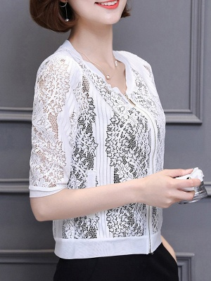 3/4 Sleeve Shift Crew Neck See-through Look Guipure lace Coat_9
