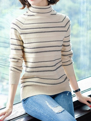 Striped Casual Long Sleeve Printed Sweater_4