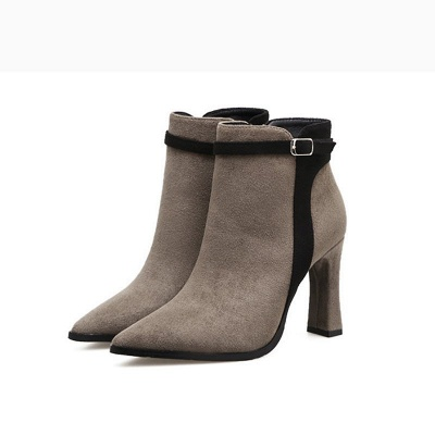 Daily Buckle Pointed Toe Elegant Boots_7