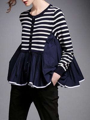 Royal blue Striped Long Sleeve Shift Sweater_1