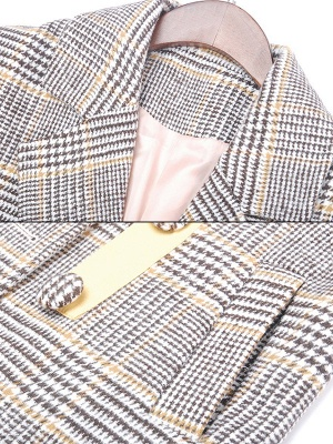 Gray 3/4 Sleeve Pockets Houndstooth Lapel Coat_6