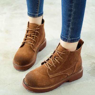 Grind Cowhide Leather Round Toe Lace-up Boots_1
