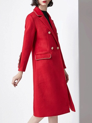 Red Buttoned Solid Work Pockets Lapel Coat_4
