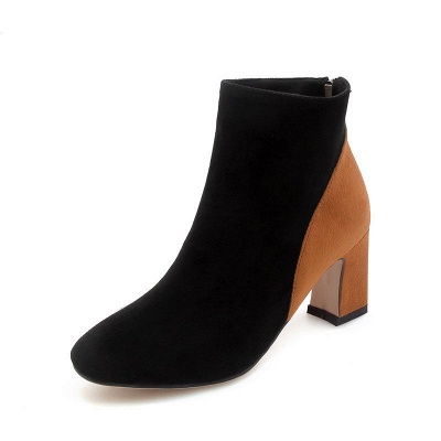 Women Daily Chunky Heel Suede Color Block Boots_2