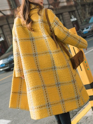 Yellow Lapel Long Sleeve H-line Buttoned Checkered/Plaid Casual Pockets Coat_3