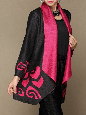 Rose Shawl Collar Long Sleeve Asymmetrical Crinkled Color-block Coat_5