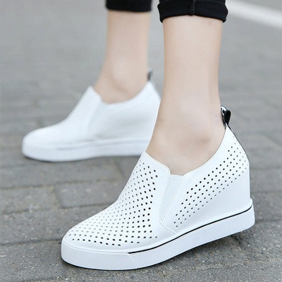 Hollow-out Wedge Heel Daily Pointed Toe Loafers_1
