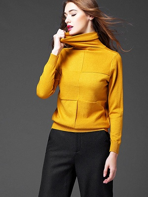 Paneled Solid Long Sleeve Casual Sweater_8