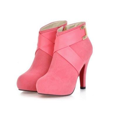 Stiletto Heel Zipper Suede Lace-up Cone Heel Round Toe Boots_1