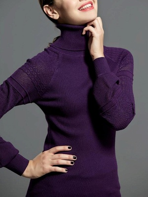 Casual Balloon Sleeve Knitted Sweater_2