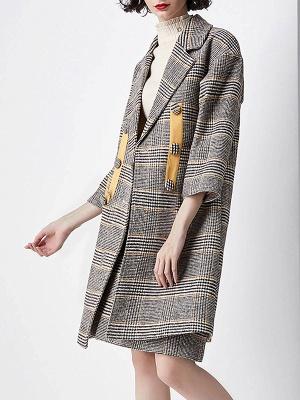 Gray 3/4 Sleeve Pockets Houndstooth Lapel Coat_4