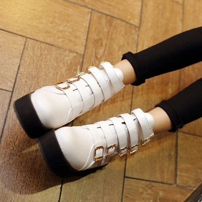 Women's Boots Black Round Toe Wedge Heel Boots_3