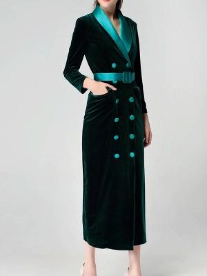 Dark Green Casual Pockets Coat_9
