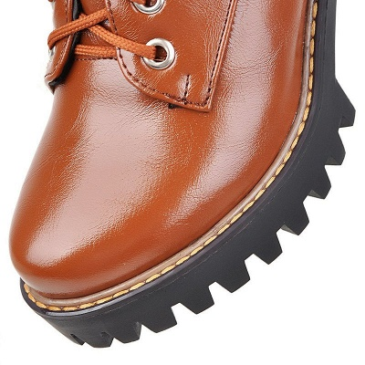 Daily Lace-up PU Round Toe Chunky Heel Boots_13