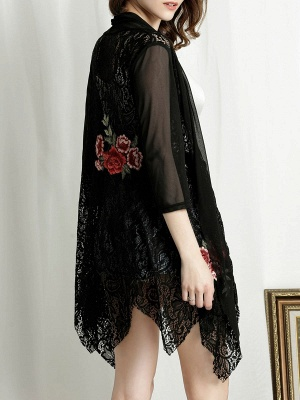 Floral Embroidered Casual 3/4 Sleeve Asymmetric Coat_4