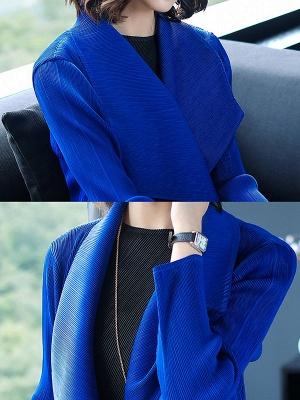 Long Sleeve Shawl Collar Pleated Shift Coat_9