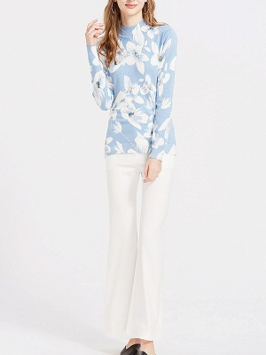 Blue Floral Casual Long Sleeve Stand Collar Sweater_4