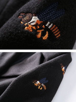 Black Lapel Balloon Sleeve Shift Buttoned Animal Embroidered Coat_6