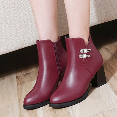 Chunky Heel Rhinestone Daily Pointed Toe Zipper Elegant Boots_6