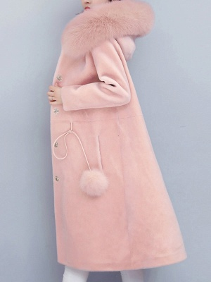 Buttoned Hoodie Fluffy Pockets  Paneled Coat_9
