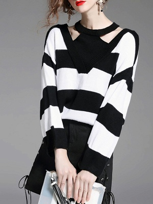 Black-white Crew Neck Shift Long Sleeve Solid Sweater_1