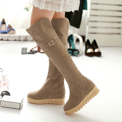 Suede Daily Wedge Heel Buckle Casual Boot_9