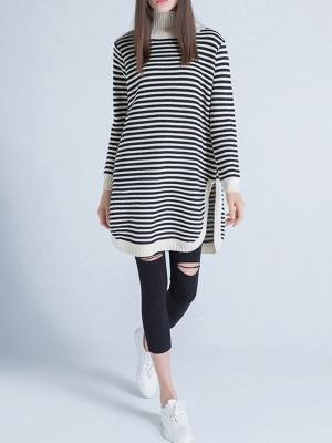 Beige Long Sleeve Turtleneck Stripes Sweater_1
