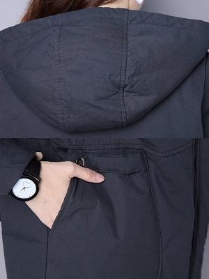 Zipper Hoodie Pockets Shift Long Sleeve Coat_6