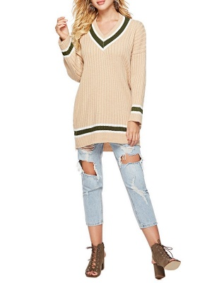 Casual Ribbed Solid Long Sleeve Sweater_1