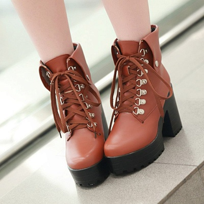 Chunky Heel Lace-up PU Daily Round Toe Boot_2