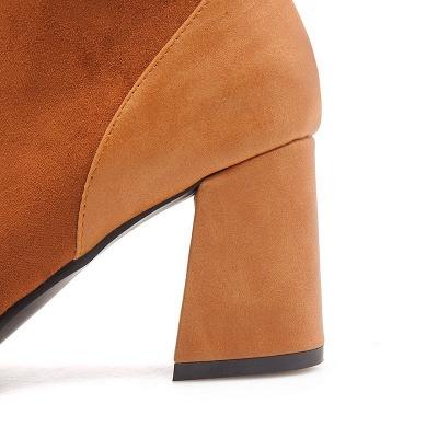 Chunky Heel Suede Elegant Round Toe Boots_11
