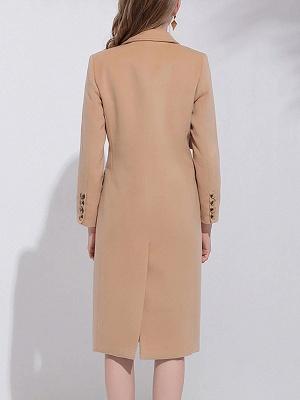 Camel Solid Long Sleeve Zipper Pockets Lapel Coat_3