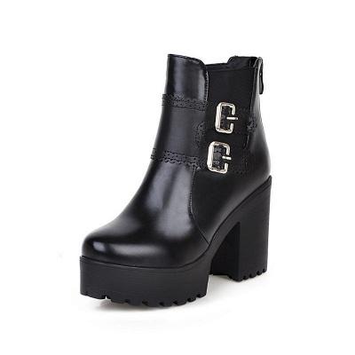 Buckle PU Chunky Heel Round Toe Boot_7