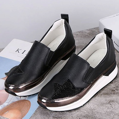 Daily Round Toe Wedge Heel PU Loafers_2