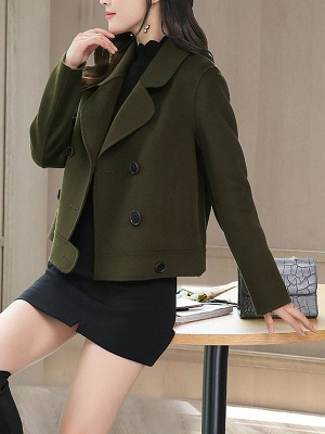 Work Long Sleeve Solid Lapel Buttoned Paneled Coat_8