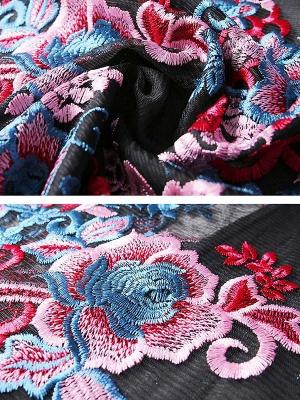 Black Floral Shift 3/4 Sleeve Casual Coat_5
